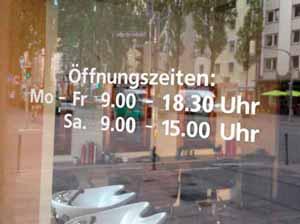 Öffnungszeiten Aufkleber / Schaufensterbeschriftung